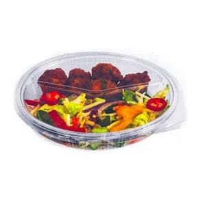 2 Compartment Oval Clear Hinged Container