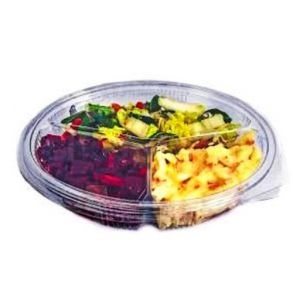 3 Compartment Oval Clear Hinged Container