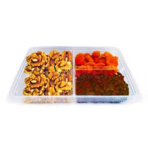 3 Compartment Clear Hinged Container
