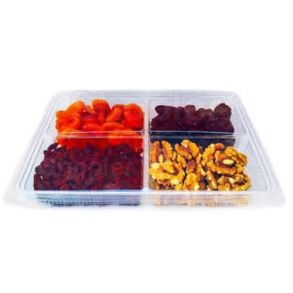 4 Compartment Clear Hinged Container