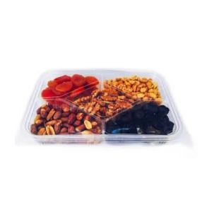 5 Compartment Clear Hinged Container