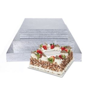 8inch Square Double Thick Silver Cake Card